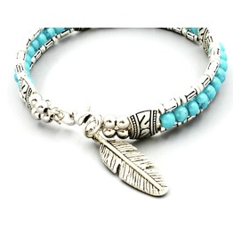 Silver Metal Biker Native American Indian Turquoise Feather Design Bangle