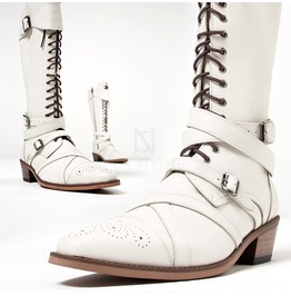 Wrap Belted Lace Up Straight Tip White Long Boots 431