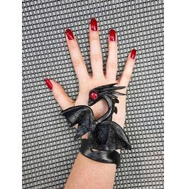 Fantasy Black Adjustable Leather Dragon Bracelet Cuff, Cosplay, Gothic
