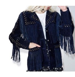 Handmade Women's Blue Suede Leather Fringe Jackets Western In Indian Style