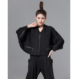 Bat Wing Sleeves Multi Zip Short Coat Outerwear