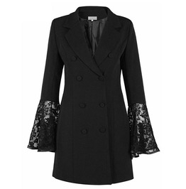 Lace Bell Sleeves Double Breasted Coat Outerwear
