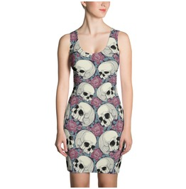 Skulls & Roses Fitted Dress