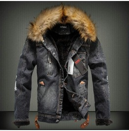 Ripped Thick Denim Men's Jacket Up To 4 Xl