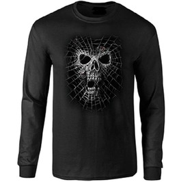 Black Widow Skull Long Sleeve T Shirt