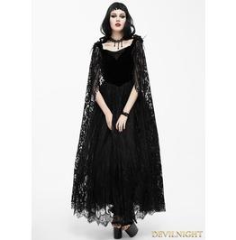 Black Romantic Long Gothic Dress With Lace Cape Eskt017