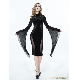 Black Gothic Long Trumpet Sleeves Sexy Velvet Dress Eskt020