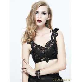 Black Gothic Feather Harness Bra Eas003