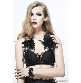 Black Gothic Flower Feather Harness Bra Eas002