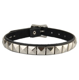 Cool Black Leather Collar With Piramid Spikes Adjustable Strap