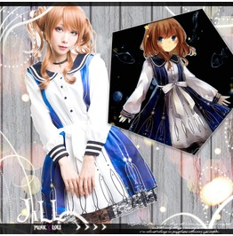 Lolita Princess Diary Dolphin Hearts Deep Sea Sailor Collar Dress【Jbh1995】