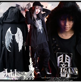 Punk Anime Fallen Angel Lucifer Wing Motif Thermal Parka Jacket Jag0063