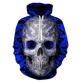 3 D Metal Skull Hoodies Up To 6 Xl