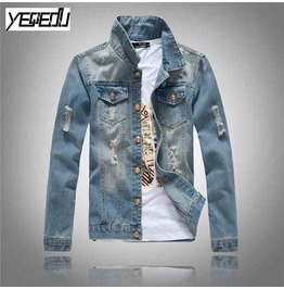 Light Blue Vintage Denim Men's Jacket