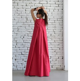 Pink Maxi Dress With Front Zipper/Sleeveless Tattoo Fashion Dress