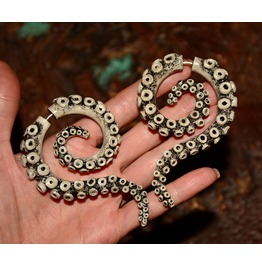 Fake Gauges Big Womens Earrings Octopus Jewelry Tribal Tentacles