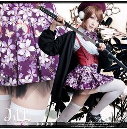 Lolita Anime Harajuku Butterfly Sakura Senkoku Basara Pleated Skirt Jj0025