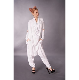 White Jumpsuit, Harem Jumpsuit, Womens Jumpsuit, Wide Leg Pants
