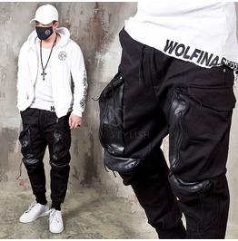 Leather Contrast 4 Big Pocket Bending Pants 202