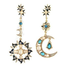 Mystic Star, Sun And Moon Design Gold Metal Dangling Earrings
