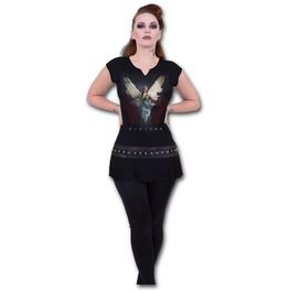 Tattoo Minimalist Vikings Angel Black Stud Waist Mini Dress