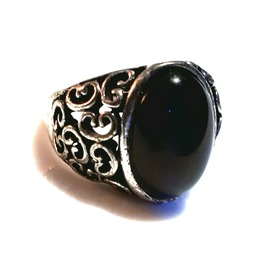 Goth Old Silver Metal Antique Look Black Oval Engraved Design Ring Size 19