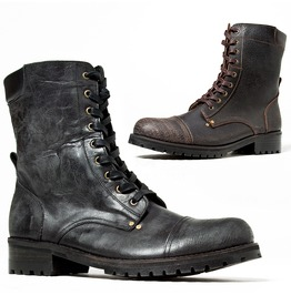 Distressed Crack Leather Lace Up Biker Boots 433