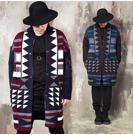 Indian Vibe Jacquard Patterned Long Knit Cardigan 127