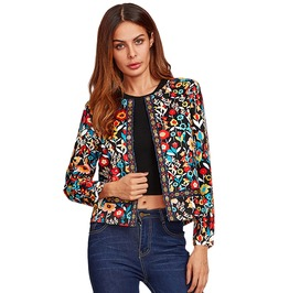 Bohemian Collarless Single Breasted Floral Jacket