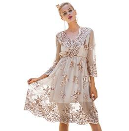 Streetwear Women's V Neck Sequin Knee Length Dress