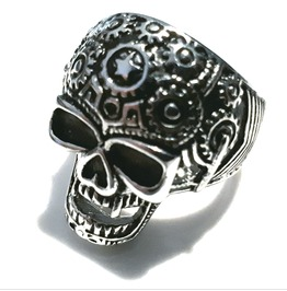 Eye Catching Skull And Coggs Design Stainless Steel Ring Us12