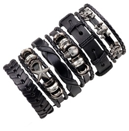 Set Of Punk Skull Star Leather Bracelet For Men