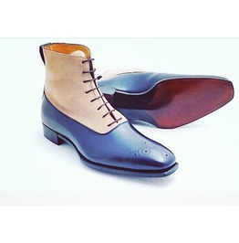 Handmade Men Two Tone Ankle Boots, Men Blue And Beige Suede Lace Up Boots