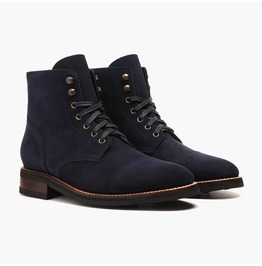 Handmade Men Navy Blue Suede Ankle Boots, Mens Fashion Lace Up Boots