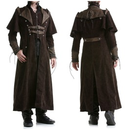 Punk Mens Gothic Steampunk Coat Brown Vtg Regency Highwayman Long Jacket