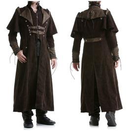 Punk Mens Gothic Steampunk Coat Brown Vtg Regency Highwayman Long Jacket