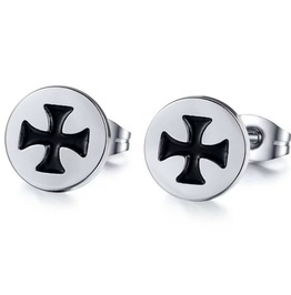 Cool! Stainless Steel Maltese Cross Biker Pair Stud Earrings!