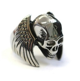 Awesome Winged Skull Head Design Stainless Steel Biker Ring Us 12