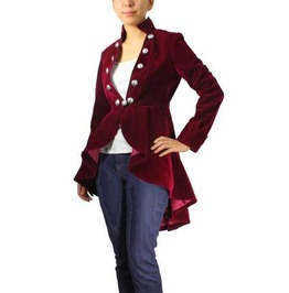 Women Red Velvet Coat High Low Jacket Women Victorian Elegant Jacket