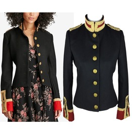 Rebelsmarket women wool military jacket army officer band coat trench jacket double brea jackets 11