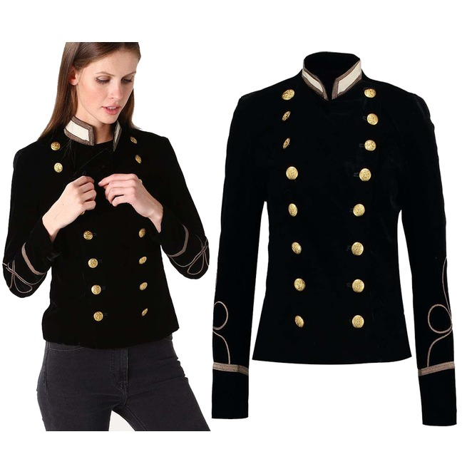 Women Gothic Jacket Army Double Breasted Army Officer -8616