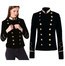 Women Gothic Military Jacket Army Double Breasted Army Officer Band Coat Sl