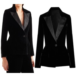 Womens Silk Stain Trimmed Velvet Jacket Women Gothic Blazer Slim Fit Jacket