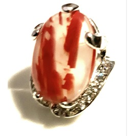 Unique! Big Smoky Clear Oval Feature Red Streaks Silver Plated Ring Us 7