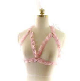 Fairy Kei Ddlg Daddys Girl Body Harness Baby Pink Ruffles Bra