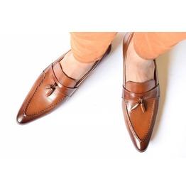 Men Tan Color Leather Tassels Moccasins Shoes Men Formal Shoes Men Shoes