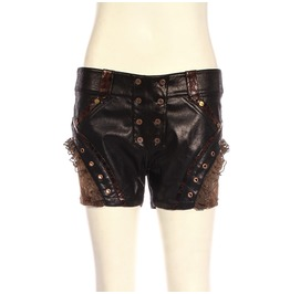 Steampunk Leather & Lace Shorts Sp211