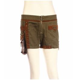 Canvas Steampunk Shorts With Leather Pouch Sp217