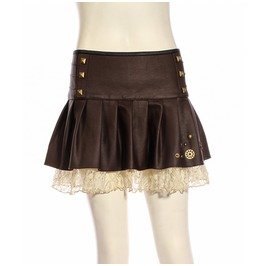 Short Lace Underlay Steampunk Skirt Sp212