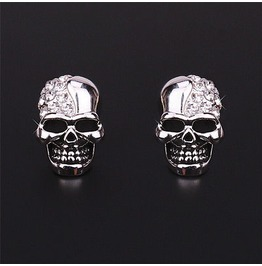 Awesome Skull Silver Metal Stud Earrings With Diamantes
